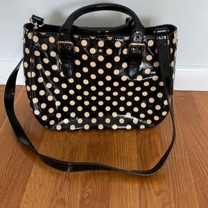 Kate Spade Black Patent Cream Polka Dot Tote Bag